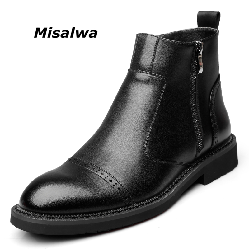 Misalwa Men's Black Leather Ankle Boots Chelsea Shoes Snow Warm Wool Plush Fashion Casual Zipper Winter Motorcycle Boots