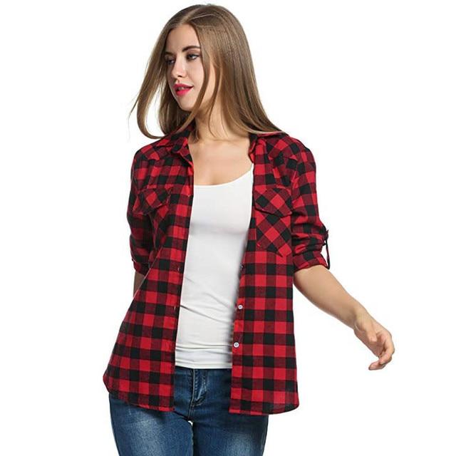 20# Women Blouse Shirt Tartan Plaid Flannel Shirts Roll Up Sleeve Casual Tops Button Down Blouse Blusas Femininas De Ver O 2019 3