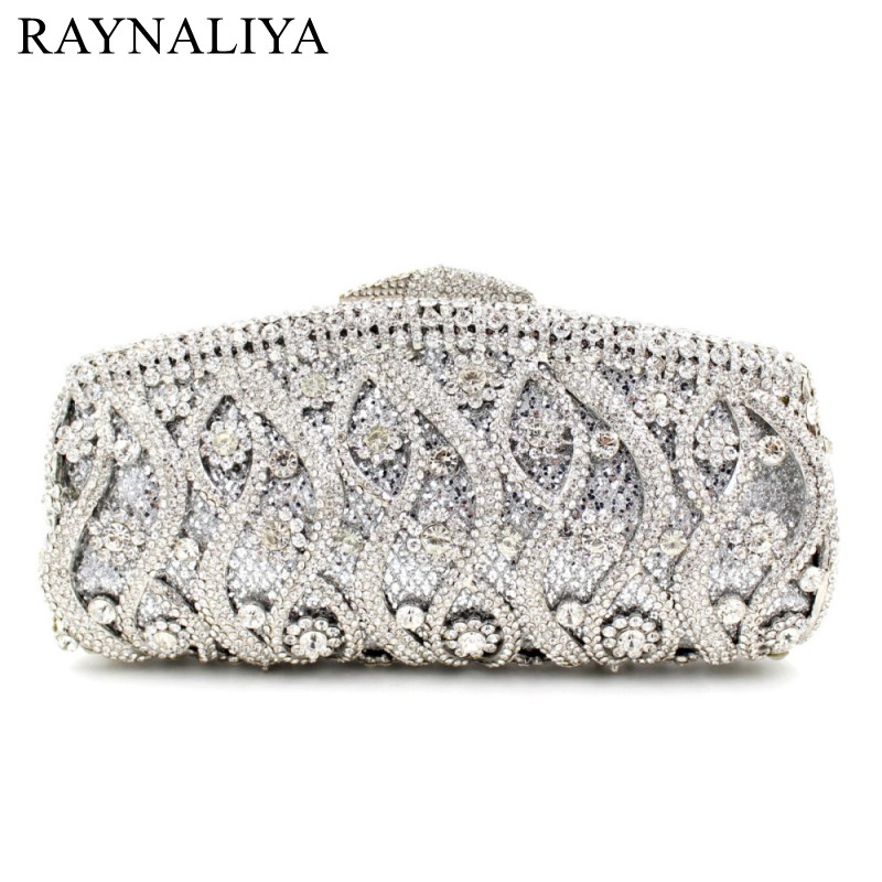 Women Flower Hollow Out Peach Champagne Crystal Rhinestone Evening Clutch Bag Wedding Bridal Metal Handbag Clutches SMYZH-E0052
