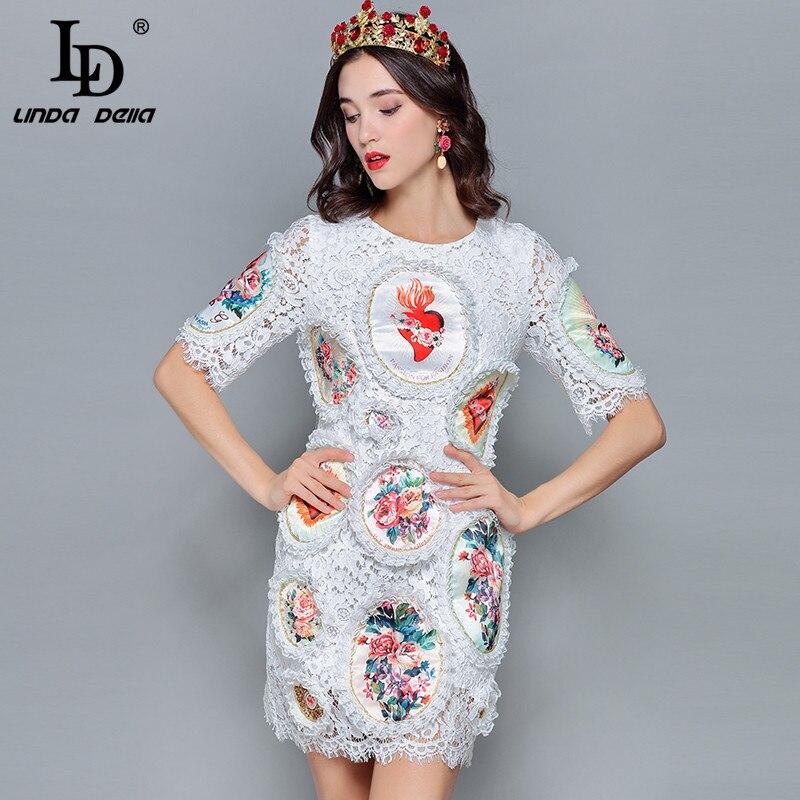 265deb3746 Élégant Ld Dentelle Mini Della D'été Blanc Robes Linda Courtes En Imprimé  De Manches Mode Floral Designer Slim 2019 Femmes ...