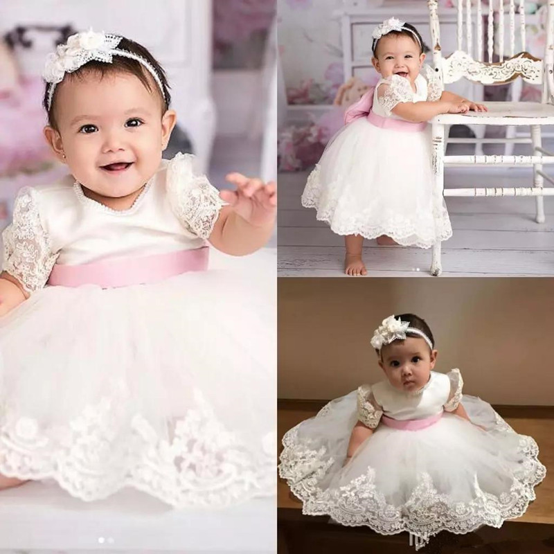 New Lovely Princess Dress Jewel Neck Pearl Big Bow Customized Flower Girl Dress For Special Occasion Baby Birthday Party Gowns