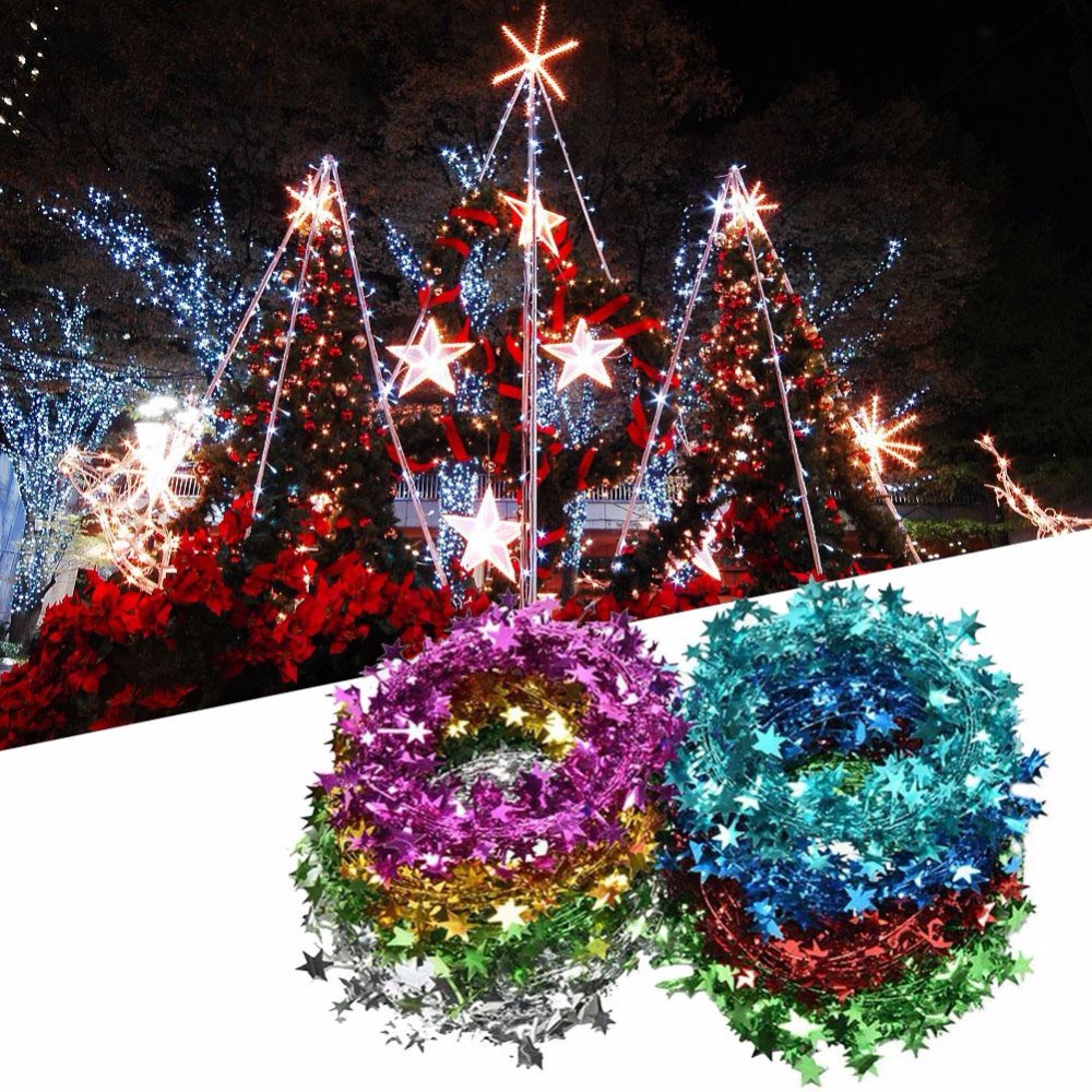 Christmas tree decorated with tinsel - Metallic Star Tinsel Garland Wire Die Cut Star Garland Christmas Tree Wedding Decorative Diy Crafts
