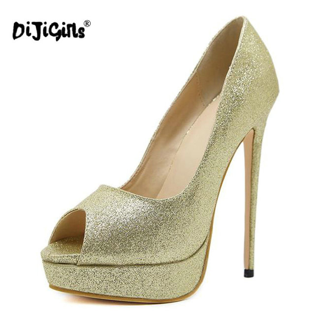 9ae274b6a9a DIJIGIRLS Sexy Pumps 16 CM Heel Extreme Stilettos Sequins Gold   Silver Platform  Shoes Women High Heels Wedding Shoes Size 35-40