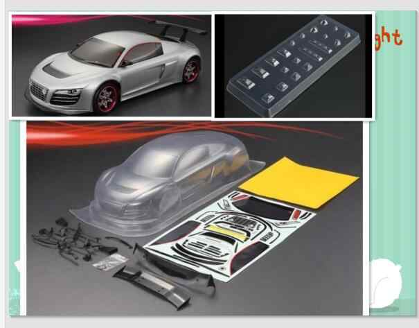 PvC Transparant Clear Auto Body 1/10 RC On-Road Voor AUDI R8 195mm PvC201218 W/Decal HPI KYOSHO Tamiya Op road fouring Drift cars