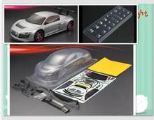 PvC Transparent Clear Car Body 1/10 RC On-Road For AUDI R8 200/195mm W/Decal HPI KYOSHO Tamiya On road fouring Drift cars(China)