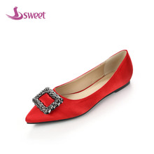 sweet Brand womens shoes woman flats Spring/Autumn Basic Silk Slip-On Pointed Toe Solid Crystal WeddingB32