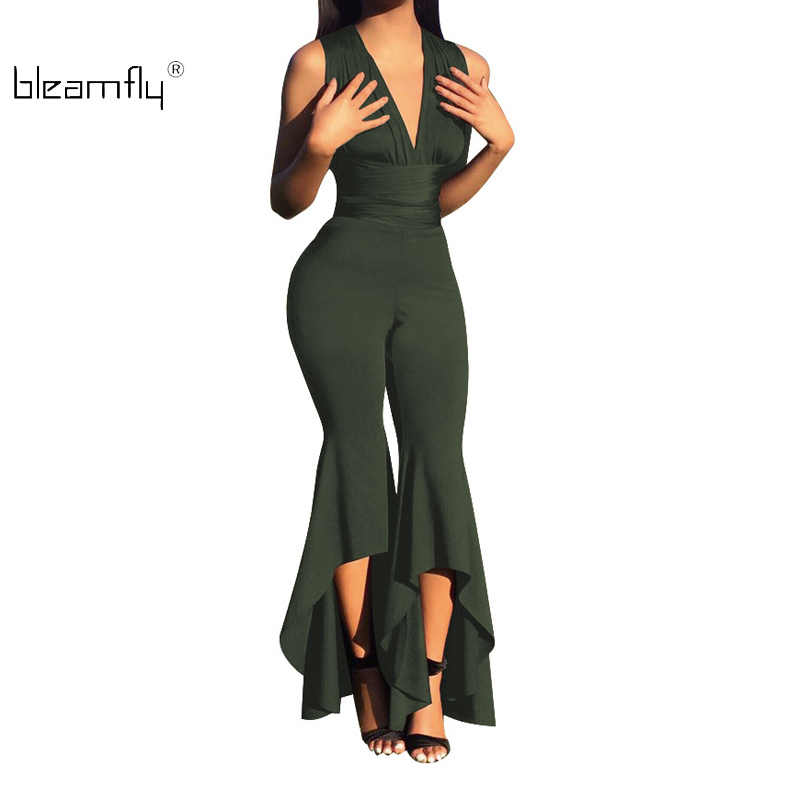 0b966a48d1a Detail Feedback Questions about Sexy White Jumpsuit Formal Deep V Neck  Office Lady Overall Elegant Black And White Romper Pants Summer Outfit Body  Femme ...