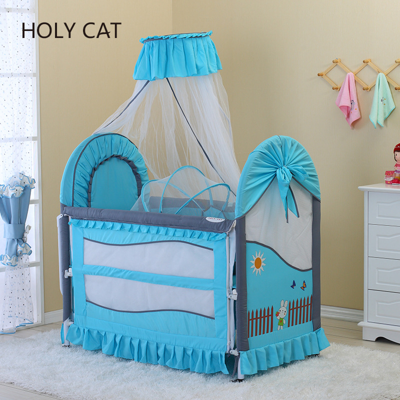 Holycat Korean Fabric, Polyester And Cotton Environmental Protection Baby Bed, Can Lengthen Children's Iron Bed Dc-2016