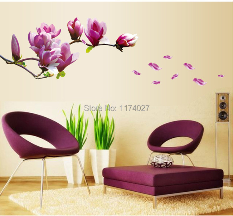 High Quality Beautiful Mangnolia Flowers Wall Stickers Beautiful Home Decor Decoration Removable art decals