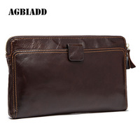 AGBIADD Men Purse Leather Long The First Layer Of Leather Business Men S Hand Bag Men