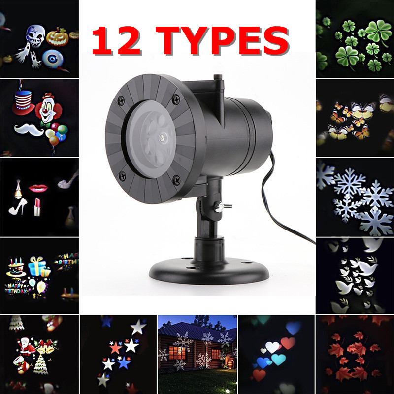 Oobest Chrismas 12 Types Snowflake Laser Fairy Light Projection Waterproof Outdoor LED Stage Lamp For Home