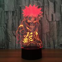 Naruto Anime 3D Night Light Creative LED Table Lamp 7 Color Changing USB Desk Lamp For
