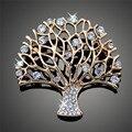 Melhores Desejos Banhado A Ouro Árvores Decorativas Bonitas Broches de Strass Broches Moda para As Mulheres X00136