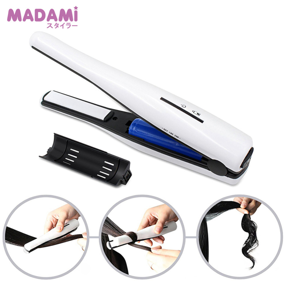 Portable USB Charge Wireless Hair Straightener Mini Flat Iron Ceramic Travel Straightening Iron 2 in 1
