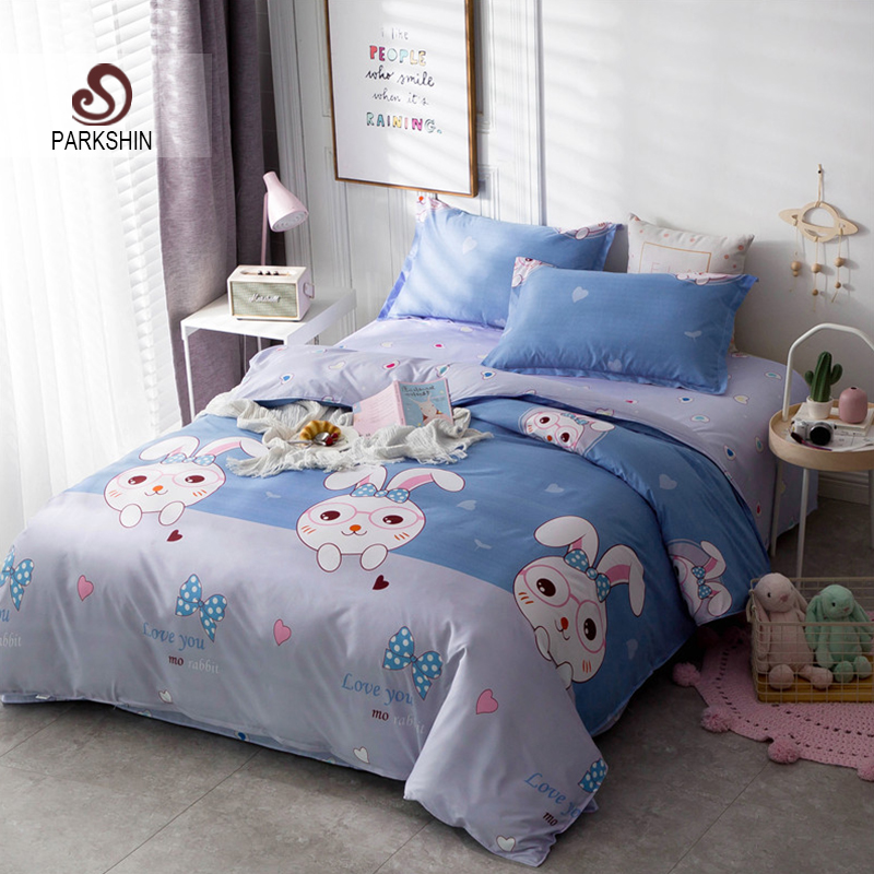 ParkShin Cartoon Bedding Set Rabbit Bedspread Blue Bed Flat Sheet Double Queen King Bedclothes Home Textiles Duvet Cover Set-in Bedding Sets from Home & Garden