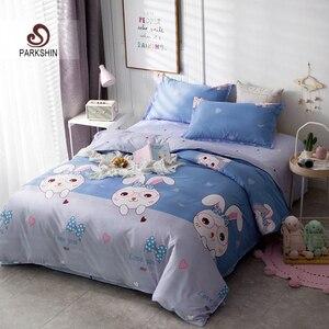 Image 1 - ParkShin 漫画寝具セットウサギのベッドカバーブルーベッドフラットシートダブルクイーンキング寝具ホームテキスタイル布団カバーセット