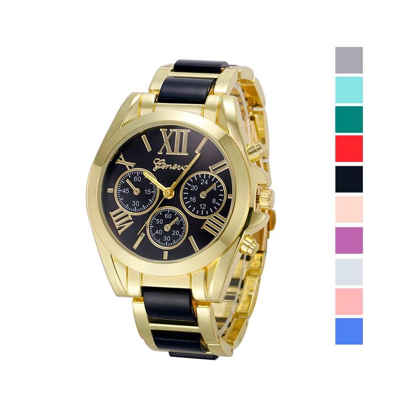 все цены на Women Geneva Roman Numeral Gold Plated Metal/Nylon Link Watch relojes hombre Vintage Relogio Feminino Masculino Erkek Kol Saati в интернете