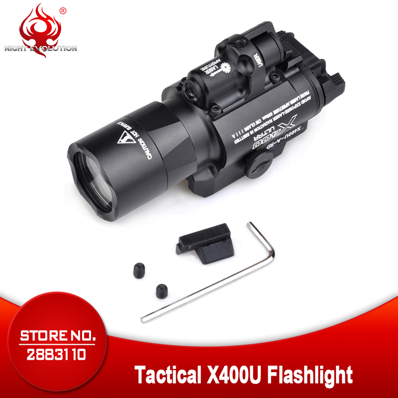 Night Evolution Element X400U ULTRA LED Airsoftsports Tactical Softair Weapon Flashlight With Red IR Laser Hunting Light NE01009-in Weapon Lights from Sports & Entertainment