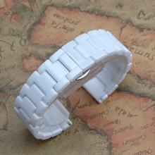 Watchbands12mm14mm 16mm 18mm 20mm Correa de La Venda de Reloj De Cerámica Blanca de Alta Calidad Pulseras De Diamantes Ladys Reloj de moda brillante