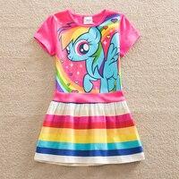 Retail Baby Girl Dress My Little Pony Summer Cotton Child Dress Girl Wear Kid Clothes Children