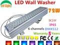 Dc24v 72 W DMX512 RGB LED da arruela da parede exterior holofotes alterar cor LED holofote IP65 à prova d ' água edifícios luz do projetor