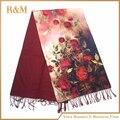 Бесплатная Доставка 2016 Новых Прибытия Женщин Роза Печати масляной живописи шелковый шарф женщин royal rose платки