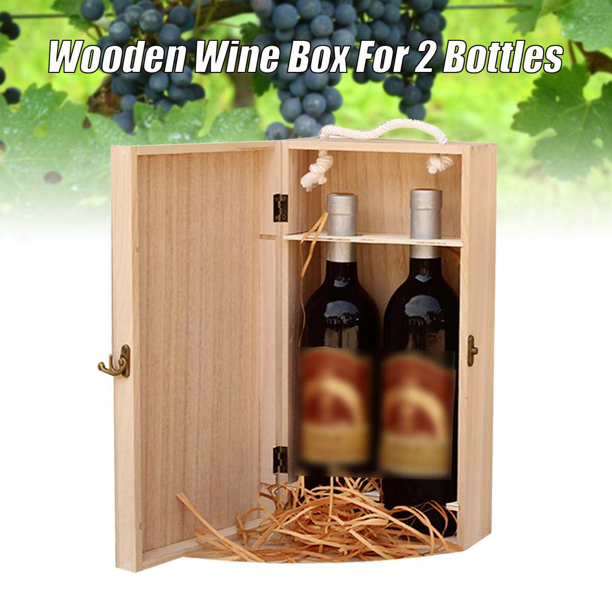 Vintage Natural Wood 2 Red Wine Bottle Box Carrier Crate Case Carrying Display Packing Holder Birthday Party Gift 35*19*10cm