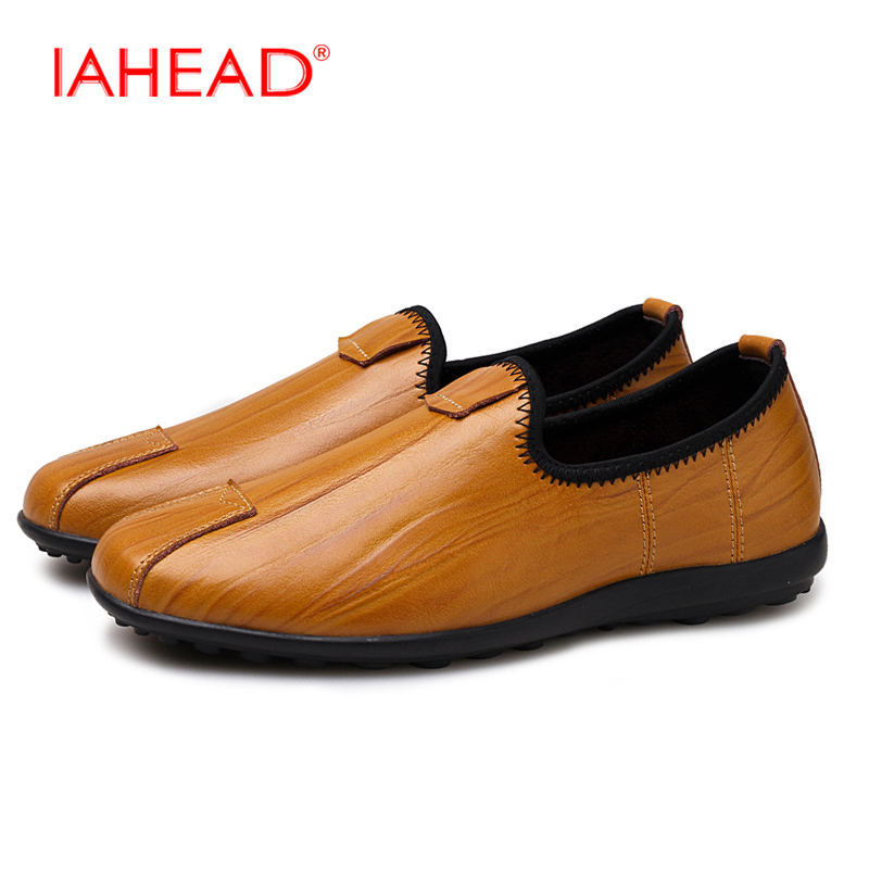 New Autumn Men Shoes Mens Genuine Casual Shoes Leather High Quality Slip-On Flats Loafers Shoes Plus Size 38-46 boty MQ556 dekabr new 2018 men cow suede loafers spring autumn genuine leather driving moccasins slip on men casual shoes big size 38 46