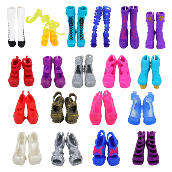 Fashion 10 Items/lot Random Dolls Shoes Kids Toys For Children Products High Heel Accessories Monster HIgh Doll DIY Present