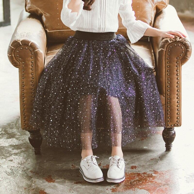 Filles mignon jupe 2019 nouveaux enfants maille jupe enfant en bas âge princesse jupe enfants d'été vêtements Sequin cinq étoiles mignon mode, #5050