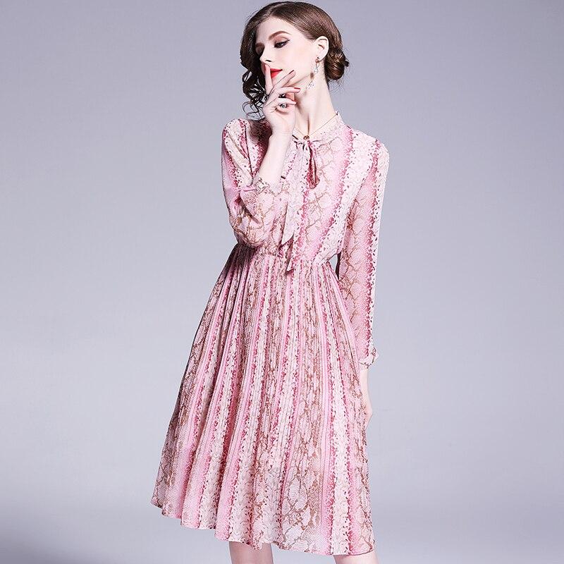 Longues Femme 2019 Pink Style Fille Robes Et Les Pour Stand Dames Nouveau  Femmes Col Jurk Italie xl Robe Mode Imprimé S Mince Manches À 7wrXwEqg