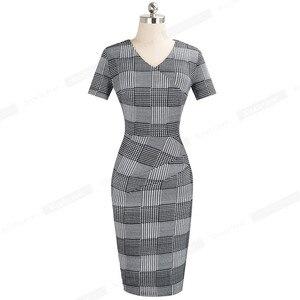 Image 2 - Nice Forever vestido ajustado elegante para mujer, estampado a cuadros, trabajo, fiesta, negocios, oficina, B537