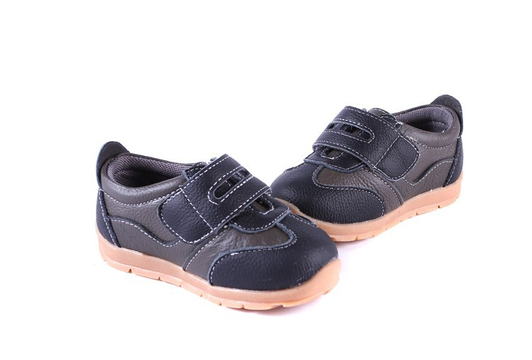 SandQ baby Boys sneakers soccers shoes girls sneakers Children leather shoes pink red black navy genuine leather flexible sole 30