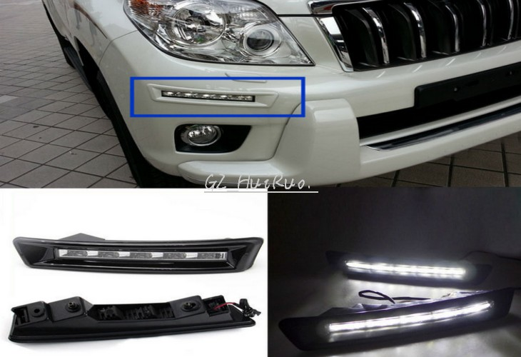2pcs White LED Daytime Running Light Fog Driving Lamp For Toyota Prado 2010 2015
