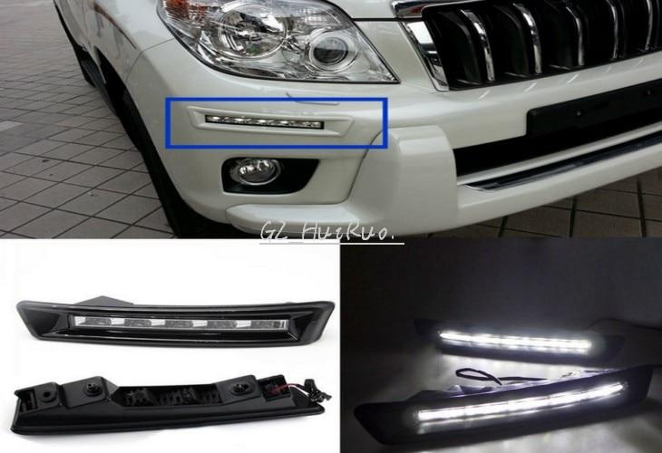 2pcs White LED Daytime Running Light Fog Driving Lamp For Toyota Prado 2010 2015