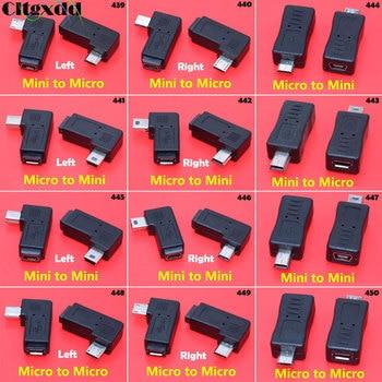цена на Cltgxdd 1pcs 90 Degree Left Right Angled 5pin Female to Male Data Sync Adapter Plug Micro USB To Mini USB Connector Converter