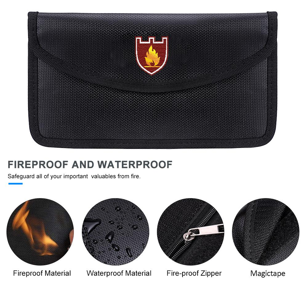 Waterproof Pouch for Cash Money Passport Bank File and Valuables Fireproof Document Bag