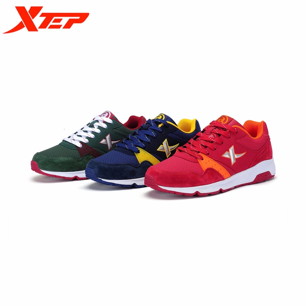 XTEP Brand Light Running For Men Breathable Athletic Outdoor Sports Run Trainers Men's Shoes 2017 New All Season Male Sneakers