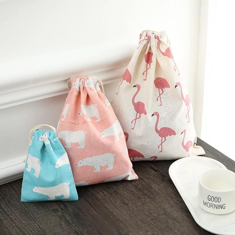 Cotton Cloth Drawstring Bag Wash Pouch Cartoon Travel Luggage Bags Clothes Storage Shoe Organizer Cosmetic Pocket