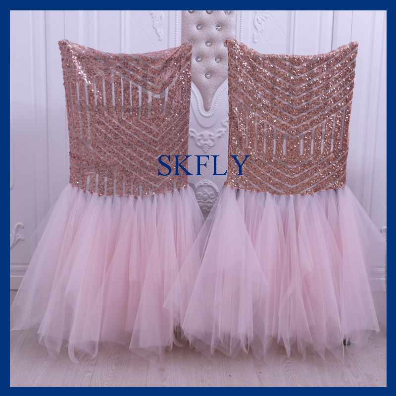 Chair Covers Rose Gold Farm Style Table And Chairs Ch094d New 2018 Pattern Sequin Blush Pink Tulle Tutu Cover In From Home Garden On Aliexpress Com Alibaba Group