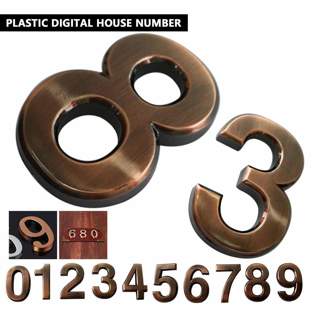 Modern Warna Perunggu Pintu Rumah Hotel Alamat Plakat Stiker Tanda Plat Nomor Digit Praktis Room Gate Nomor 0-9