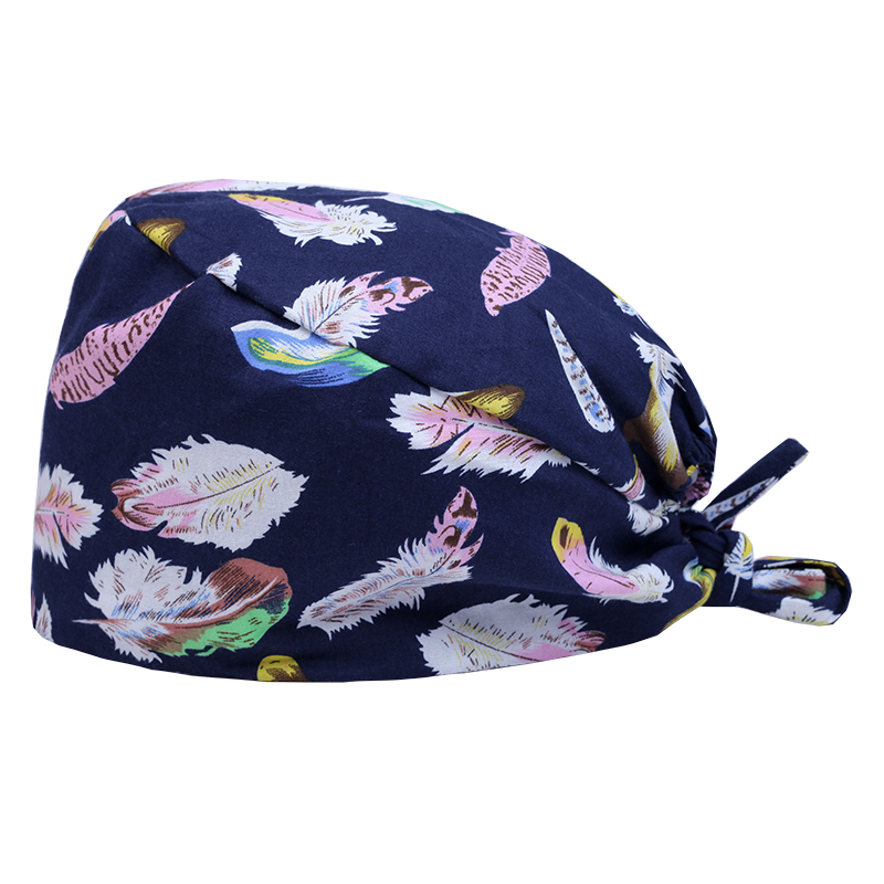 Unisex Feather Nurse Scrub Cap Surgical Hat Cotton Doctor's Caps Hospital Healthcare Chemo Working Hats Dentist Chef Work Caps