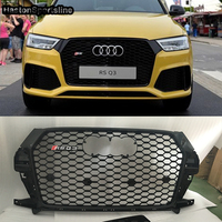Q3 RSQ3 Style Honeycomb Mesh Front Grille For Audi Q3 SQ3 RSQ3 2016 2017 2018 2019 With 4Ring Logo