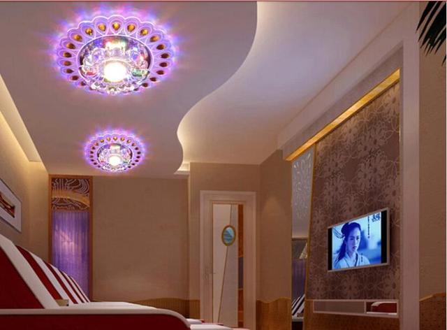 3 w moderne br ve led cristal salon spot clairage ac85 265v lampe de balcon corridor pour la - Eclairage spot salon ...