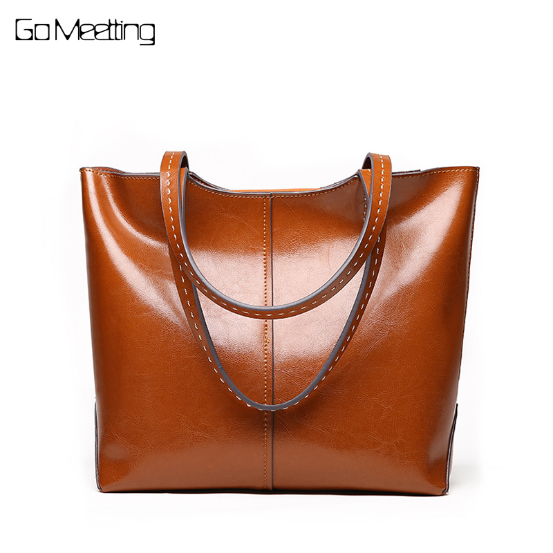 Go Meetting Large Capacity Casual Tote Bags Genuine Leather Women Handbags High Quality Multi-functional Lady Retro Shoulder Bag цена