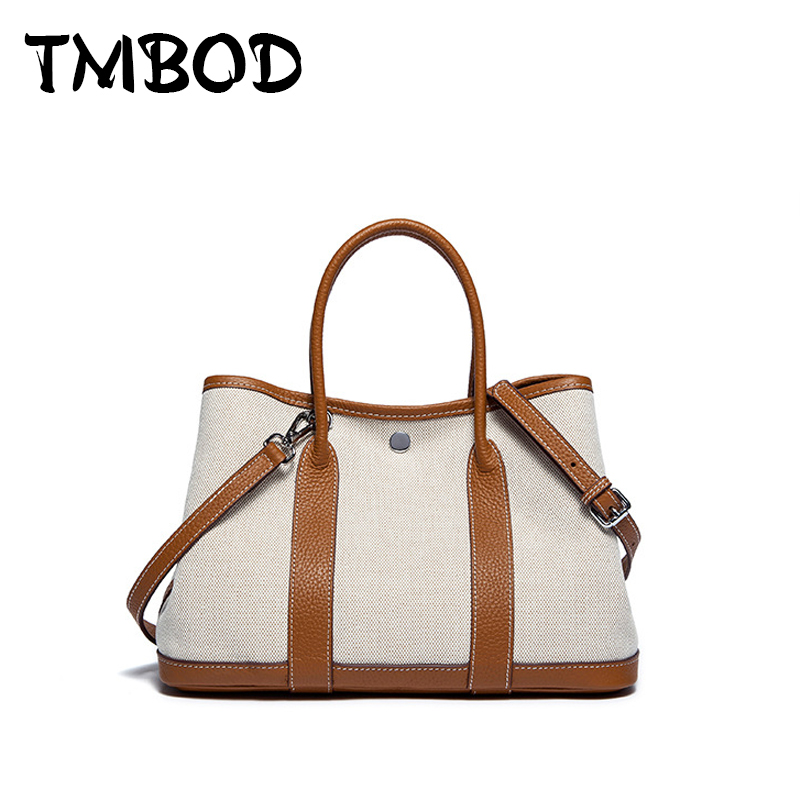 New 2018 Classic Casual Patchwork Tote Popular Women Canvas & Split Leather Handbags Ladies Bag Messenger Bags For Female an768 new 2018 classic patchwork flap crossbody bag for female women canvas