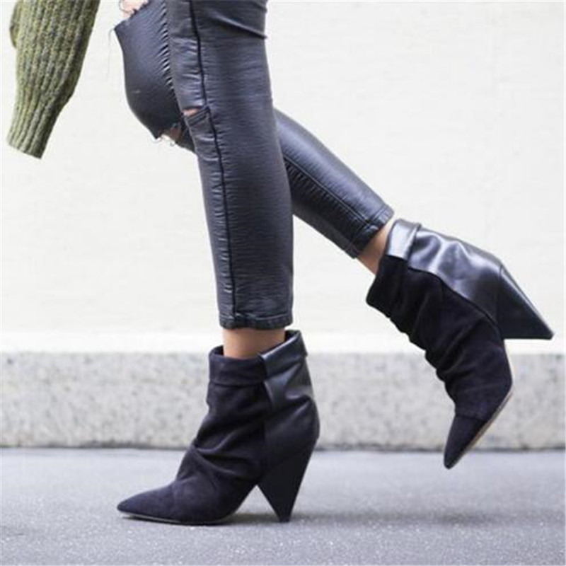 Hot Andrew Women Boots Shoes Woman Spike High Heel Ankle Boots Slip On Leather Suede Patchwork Autumn Winter Boots Botas Mujer hot selling chic stylish black grey suede leather patchwork boots mid calf spike heels middle fringe boots side tassel boots