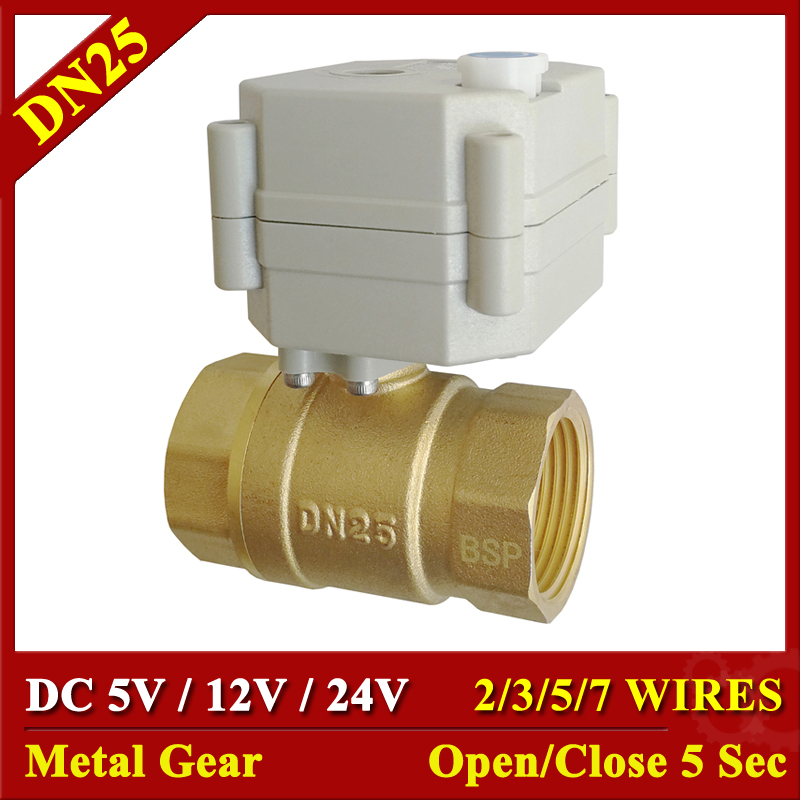 DC5V 12V 24V Metal Gear Motorized Valves Brass 1'' TF25 B2 Series 2/3/5/7 Wires 2 Way DN25 Electric Shut Off Valves-in Valve from Home Improvement