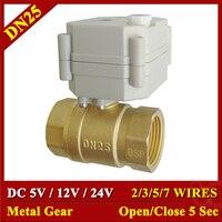 DC5V 12V 24V Metal Gear Motorized Valves Brass 1'' TF25 B2 Series 2/3/5/7 Wires 2 Way DN25 Electric Shut Off Valves