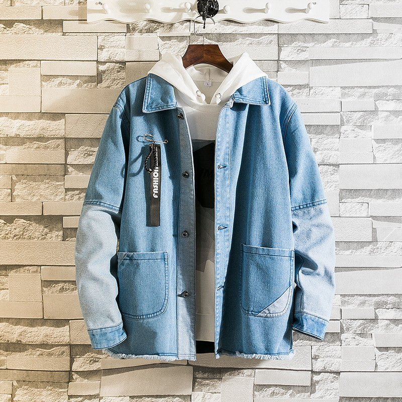 Men's Fashion Slim Jacket Can Be Washed Thin Section Capless Lapel Single Row Button Stitching Casual Sports Denim Jacket